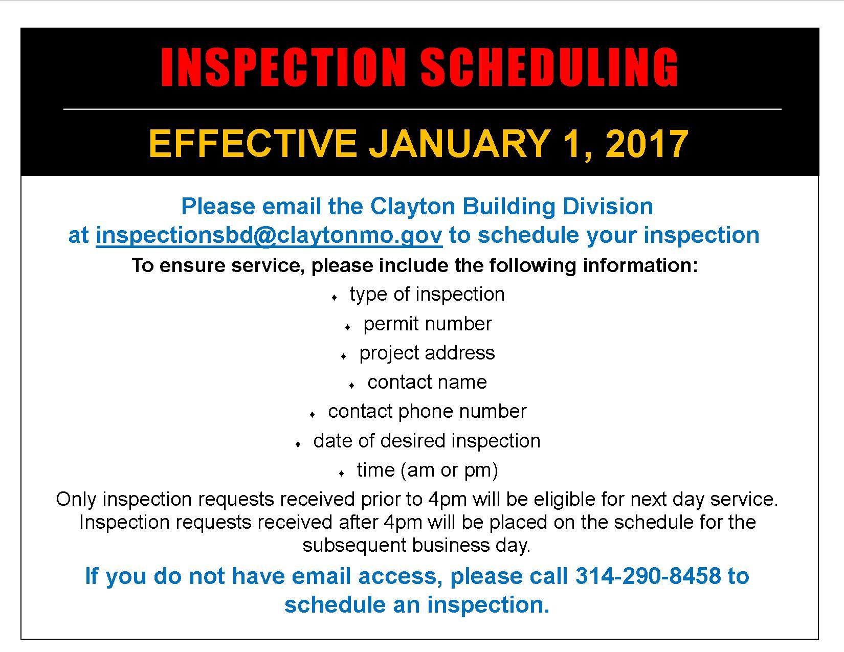 Inspection Scheduling